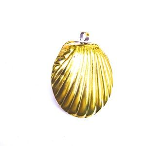 Vintage Brass Clamshell Pendant